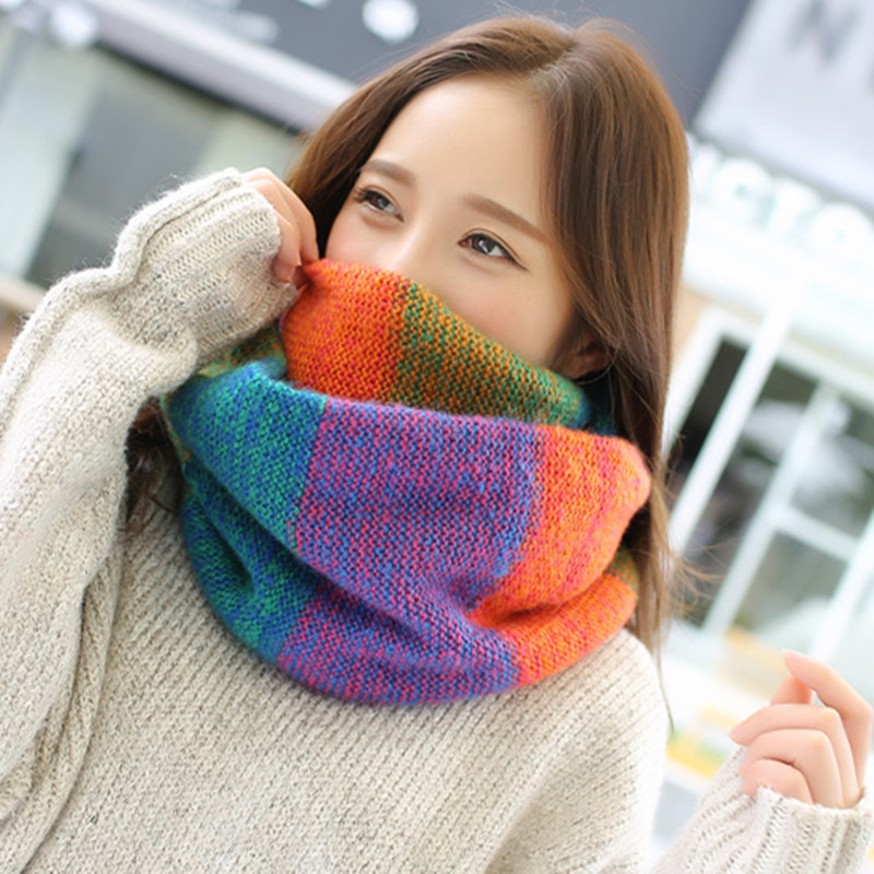 Autumn Winter Rainbow Plaid For Women Ring Scarf Female Fashion Neck Scarves Thicken Knitted Wrap Shawl Warm Collar Wool Scarf