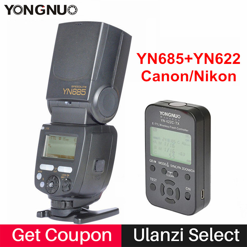 YONGNUO TTL Flash Speedlite YN685C YN685N w YN622C-TX/YN622N-TX Flash Trigger 2.4G Radio Slave Mode Flash for Canon Nikon DSLR