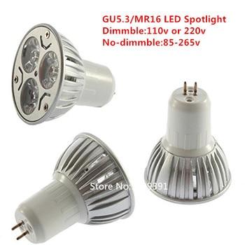 50*DHL New Dimmable  led  Gu5.3/MR16 110v  220v  85-265v 9W EPISTAR LED Warm White/ Pure White/Cool  White/ Spotlight Lamp Bulb