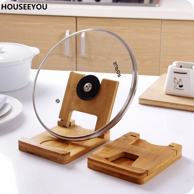 Multi Chopping Board Cutting Board Storage Rack Shelf Foldable Wooden Pot  Lids Holder Spoon Rest Stand