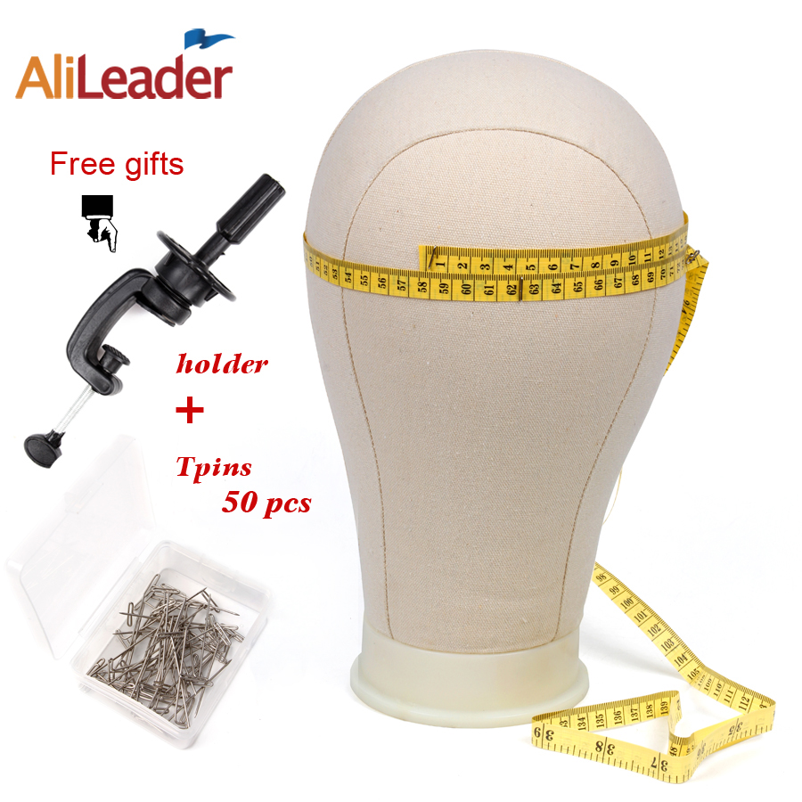21inch -25inch Alileader Canvas Block Head Hair for wig Stand For Styling Display Making Wigs With Table Clamp Wig Blocking Pins alileader essential hair holder for wig making drawing mats wire 2 piece cards hair drawing card hair extension tools