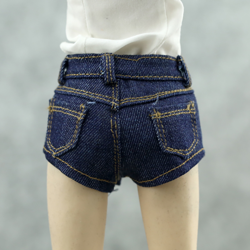 1//6th Female Jeans Shorts for 12/'/' Action Figures Accessory Dark-blue