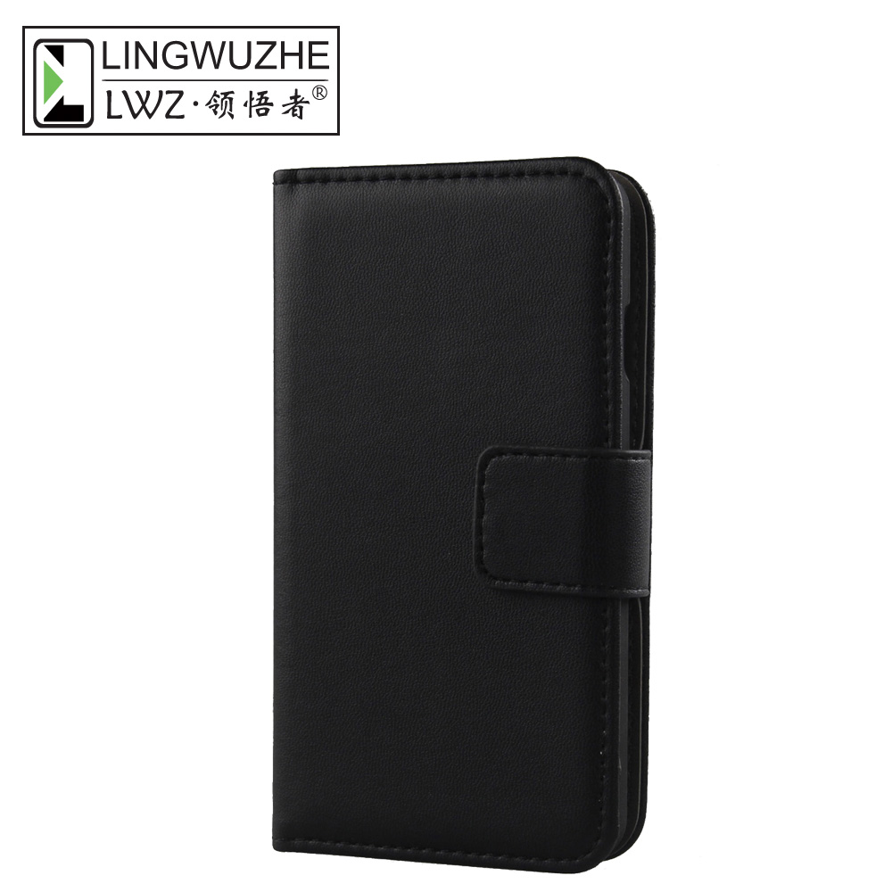 LINGWUZHE Minimalist Style Genuine Leather Cell Phone Case Wallet Cover For Blackview A20 5.5