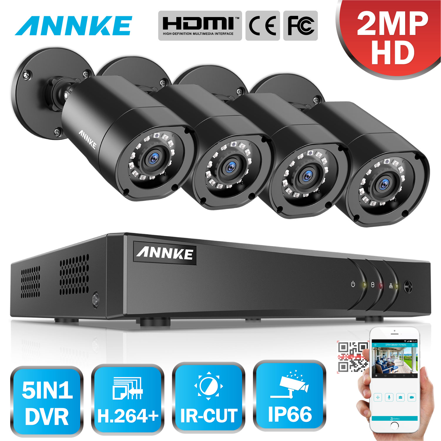 ANNKE 1080P 5in1 4CH Lite H.264+ DVR With 4PCS 2MP HD TVI Smart IR Bullet Weatherproof Cameras Security Video CCTV System KitANNKE 1080P 5in1 4CH Lite H.264+ DVR With 4PCS 2MP HD TVI Smart IR Bullet Weatherproof Cameras Security Video CCTV System Kit
