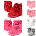 0-18mnew hoop loop infant shoes con la mariposa del nudo de los bebés de la nieve del invierno de la nieve del invierno caliente infant sólido bowknot prewalker