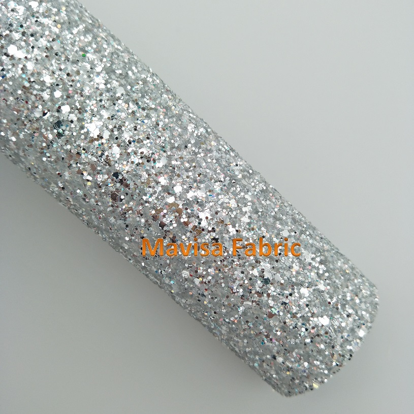 MQ054 30X134cm SILVER Chunky Glitter Leather, Glitter Fabric for making bows shoes handbags and wallpaper Party Decoration