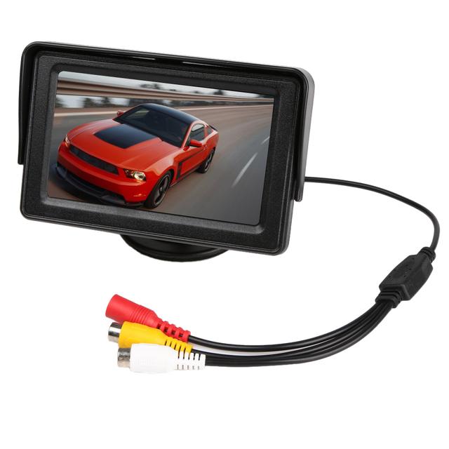 LED Night Vision Retrovisor Do Carro Invertendo Estacionamento Câmera Monitor de 4.3 Polegada LCD Monitor Do Carro Câmera Reversa de Backup Para Van/caminhão