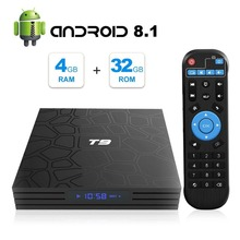 2019 4GB RAM 32GB Smart TV Box Android 8.1 T9 RK3328 QuadCore 32G USB3.0 4K Set Top TVBox 2.4G/5G Dual WIFI Media Player