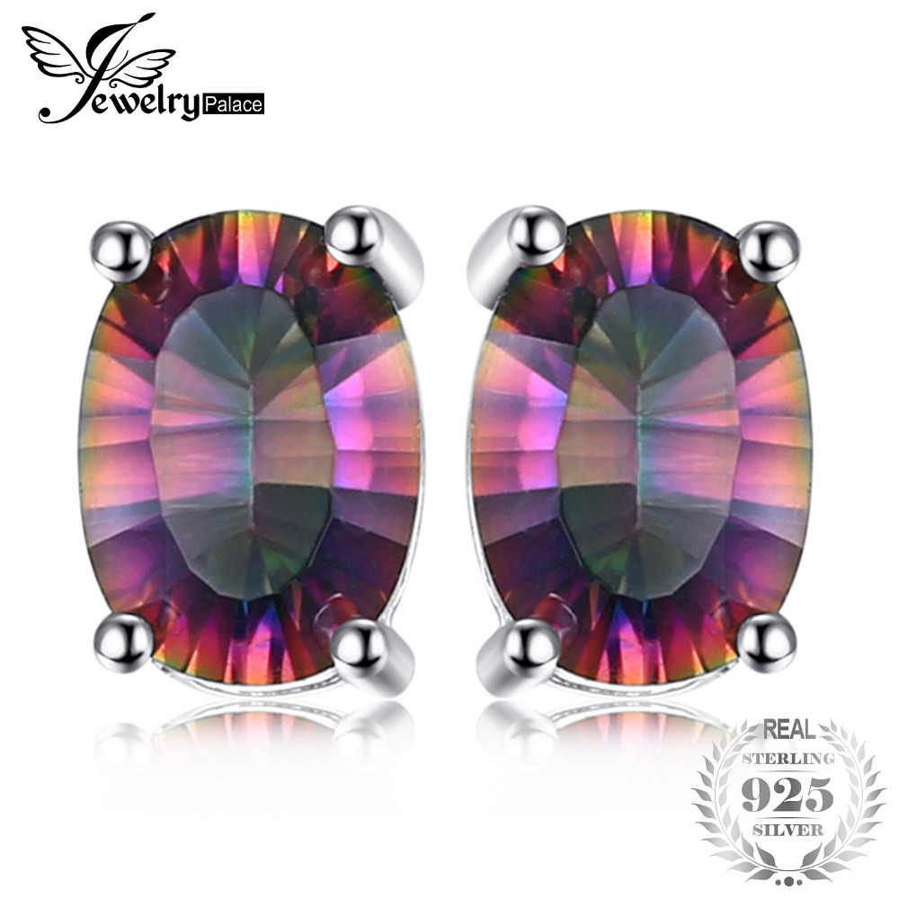 415abe7c8 Detail Feedback Questions about JewelryPalace 3.6ct Genuine Rainbow Fire  Mystic Topaz Oval Earrings Stud For Women Solid 925 Sterling Silver Jewelry  for ...