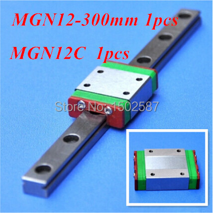 1pcs MGN12 12mm Linear Rail Slide MGN12 L-300mm long Rail +1pcs MGN12C Carriage /Guide Block CNC Parts XYZ Axis1pcs MGN12 12mm Linear Rail Slide MGN12 L-300mm long Rail +1pcs MGN12C Carriage /Guide Block CNC Parts XYZ Axis
