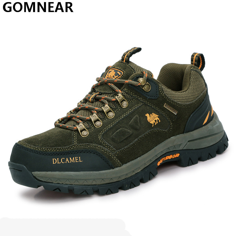 GOMNEAR Trekking Hiking Shoes Outdoor Mens Genuine Leather Mountain Climbing Shoes Athletic Shoes Hiking Sneakers Shoes BrandGOMNEAR Trekking Hiking Shoes Outdoor Mens Genuine Leather Mountain Climbing Shoes Athletic Shoes Hiking Sneakers Shoes Brand