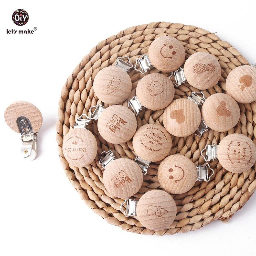 Best Price  Let's Make Baby Teether Pacifier Clip 1pc Beech Food Grade Wooden Beech Wholesale Teether DIY Custo