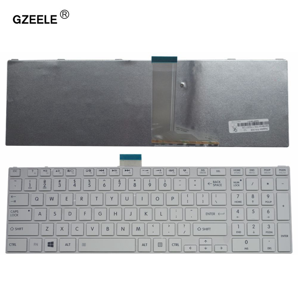 GZEELE NEW US Keyboard For Toshiba SATELLITE L850D P850 L855 L855D L870 L870D C850 C855 C855D US White Laptop Keyboard NSK-TVBSU