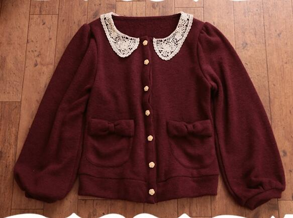 Sweet Lolita PeterPan Collar Burgundy Knit Cardigan Mori Girl Outerwear  Jacket Coats Women Wool Cardigan Tunic Top Autumn Winter c59a61877