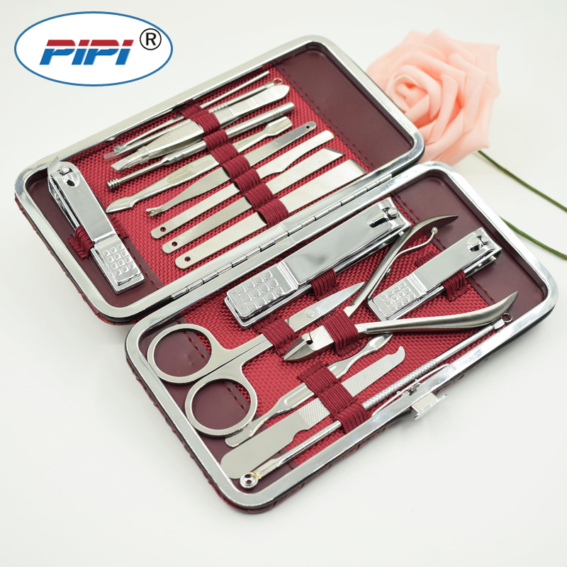 17pcs Stainless steel Manicure Set Nail Care Tools Pedicure Nail Clipper Kit with Mini Finger Nail Cutter Clipper File Scissor 3pcs stainless steel 360 degree rotatable nail clipper nail manicure file set nail clipper file tweezer pu leather case