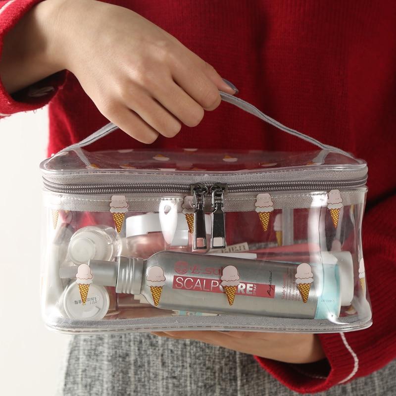 Fashion pvc transparent cosmetic bag tras