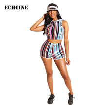 Colorful Striped print 2 Piece Set Crop Top and Shorts Sleeveless Short Hoodies Slim Bodycon Shorts Set Women Tracksuit letter and heart print sleeveless top and shorts pj set