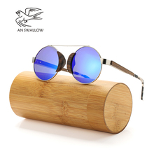 AN SWALLOW 2018 Designer Wooden Black Sunglasses Mens Vintage Classic Metal and Wood Polarized Pop Eyegla