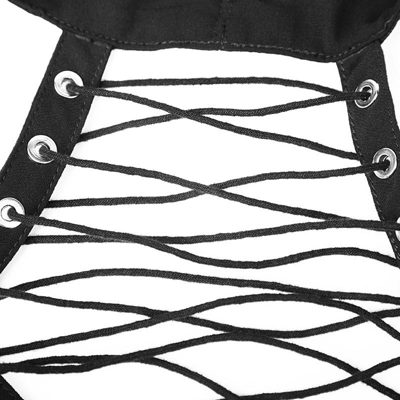 Maniche Neck E Il Lunghe Irregolare Chiffon Allacciatura Delle Estate Gotico Rave Lungo Allentato T Halter Camicette Nero A Sexy Magliette Punk Camicia shirt Donne xzfwYqCna