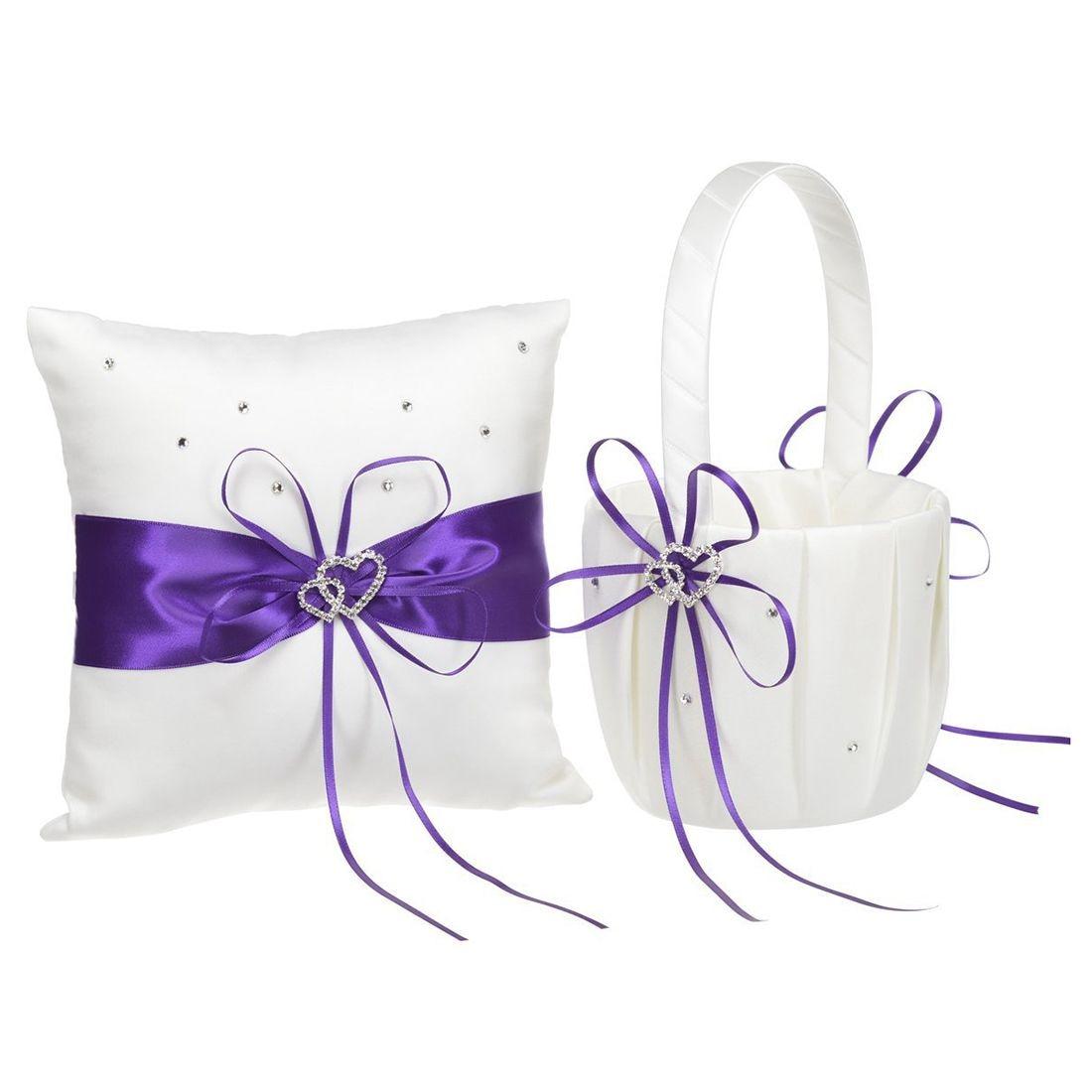 Flower girl basket purple flower girl basket practical 2 heart rhinestones ivory satin wedding flower girl basket and ring pillow set for wedding izmirmasajfo