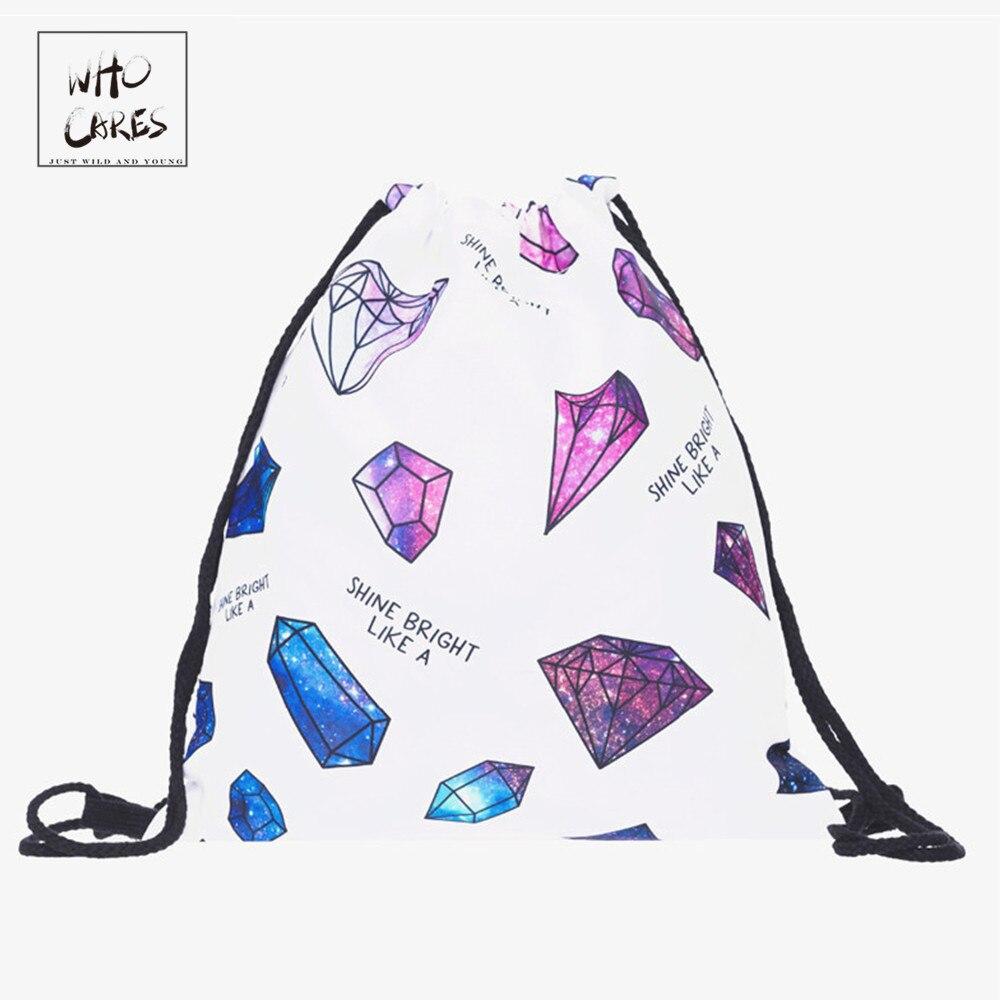 febb541da غالاكسي الماس 3D الطباعة النساء mochila 2018 الأزياء مقسم حقيبة المدرسة  حقائب للمراهقين sac دوس الرباط حقيبة