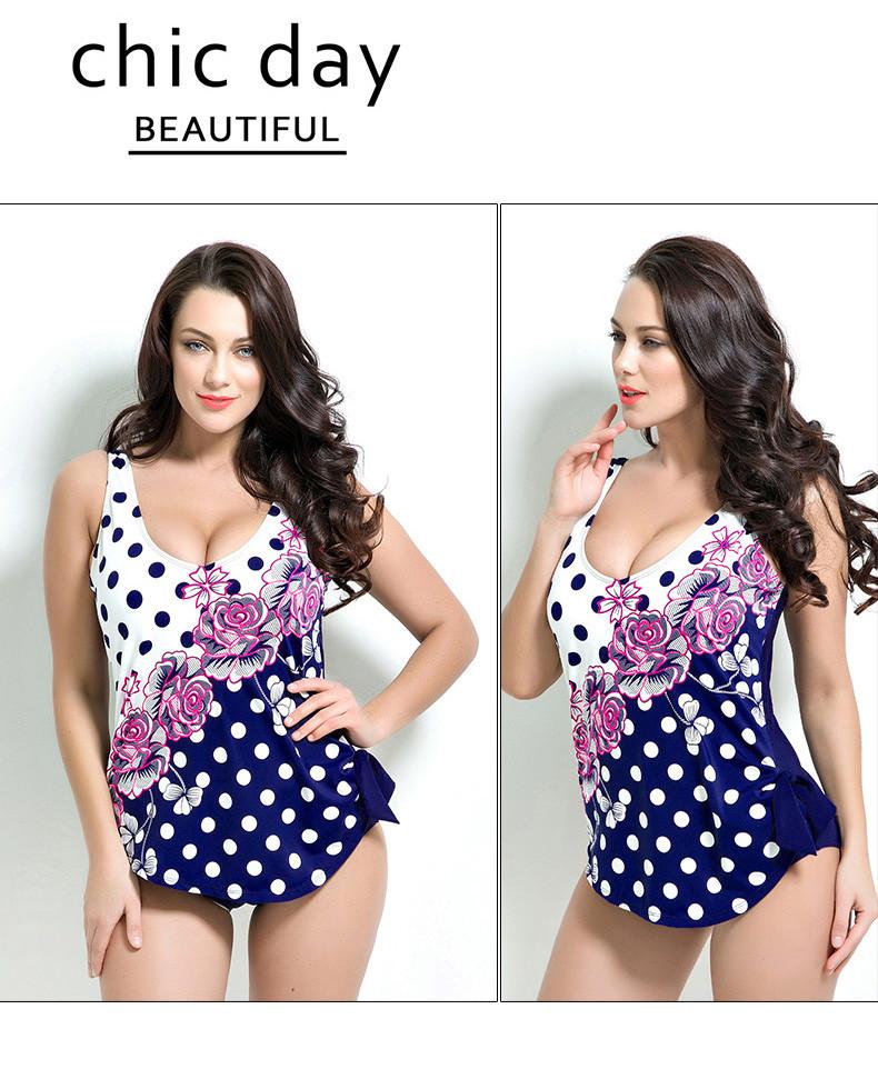Latest ! Vintage Pad Swimwear Women Retro Plus Size One Piece Swimsuit Dress 4XL Floral Dot Backless Soft Bathing Suit F1692 13