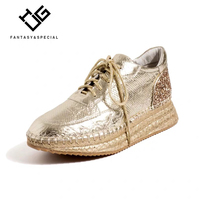 IGU Flat Shoes Women Genuine Real Leather Golden Platform Shoes 2019 Spring Fisherman Straw Shoes For Females Chaussures Femmes