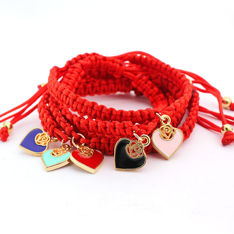 Red Thread Jewelry Lucky For Women Love Heart Charms Handmade Braided Rope Bracelets Pulseira Masculina Adjustable Jewelry Gifts