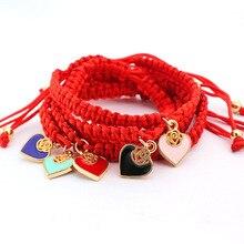 Красный Нитки ювелирные изделия Лаки для Для женщин сердце любовь Талисманы ручной плетеная веревка Браслеты Pulseira masculina Регулируемый Jewelry подарки