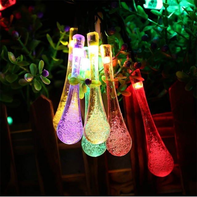 Gota de lluvia Al Aire Libre Solar Powered LED luces de cadena 4.8 M 20 Lámpara de Exterior Jardín Patio Party Christmas night light luminaria