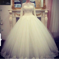 Simple Long Sleeve Off White Muslim Wedding Dress Scoop A Line Floor Length Lace Bridal Gowns
