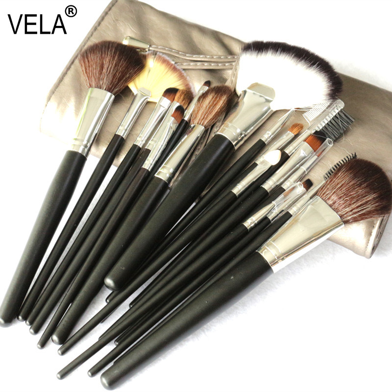Professional 18 pieces Makeup Brushes Set High Quality Powder Foundation Blush Eyeshadow Eyebrow Makeup Tools Kit with Case 32 pieces comestic kit with black case professional makeup accessories brushes tools foundation brush sets