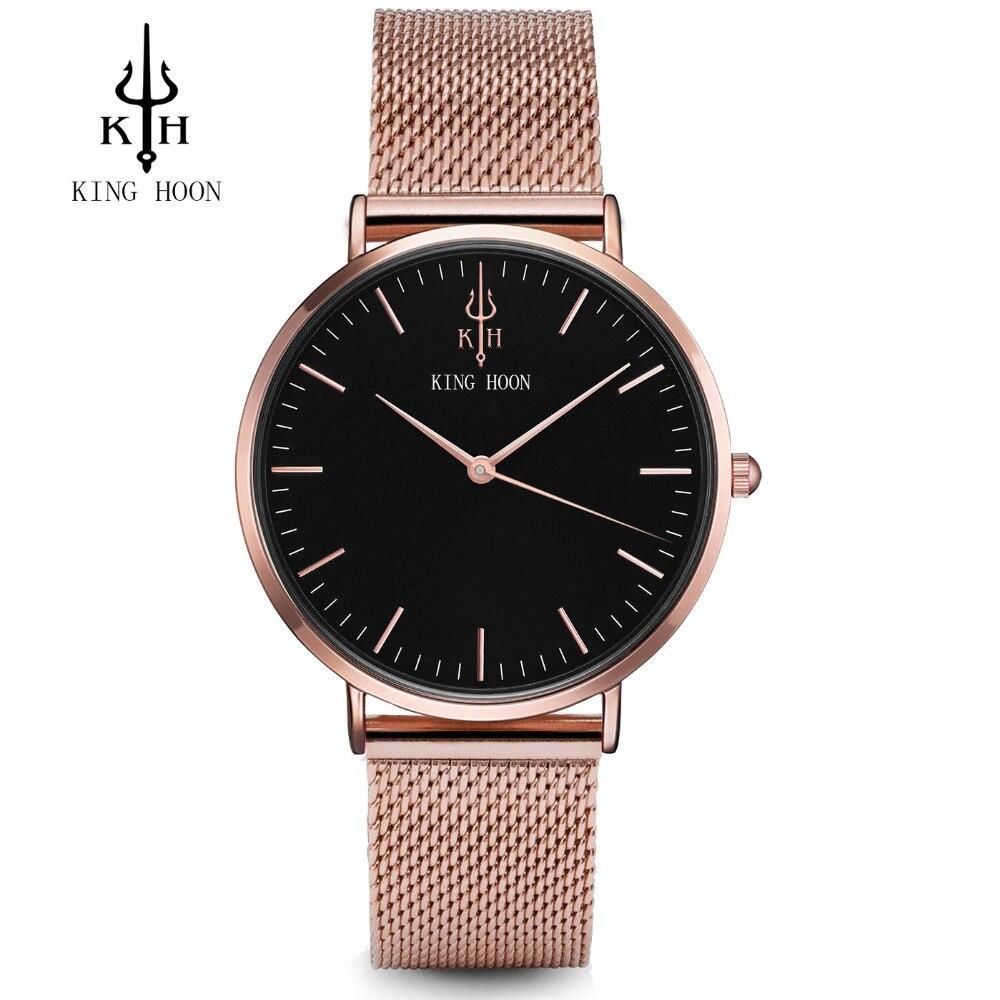 KING HOON Mens Top Brand Luxury Fashion Watch Men Ultra Thin Gold Steel Mesh Watches Women Dress Quartz Lovers Watch Orologio Uo