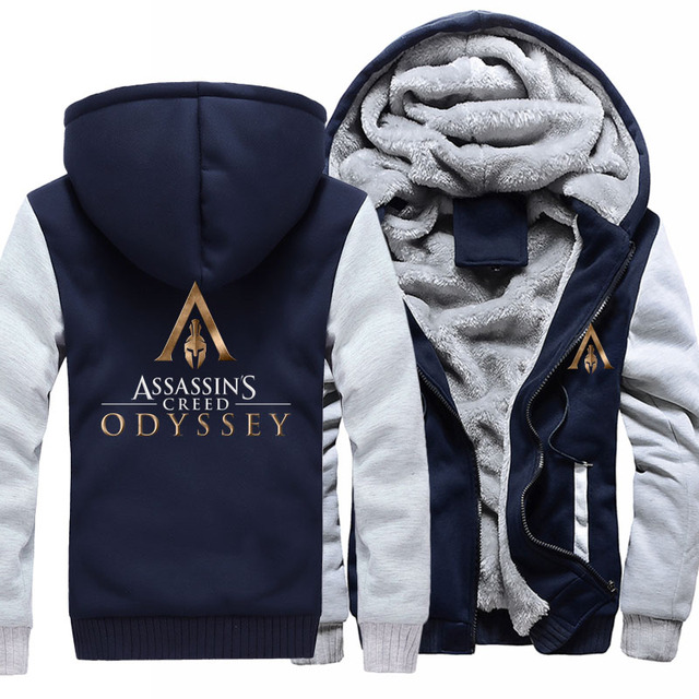 US size Men Women Game Assassin's Creed Odyssey Cosplay Hoodie Thicken Jacket Clothing Assassins Creed Coat Sweatshirts  4