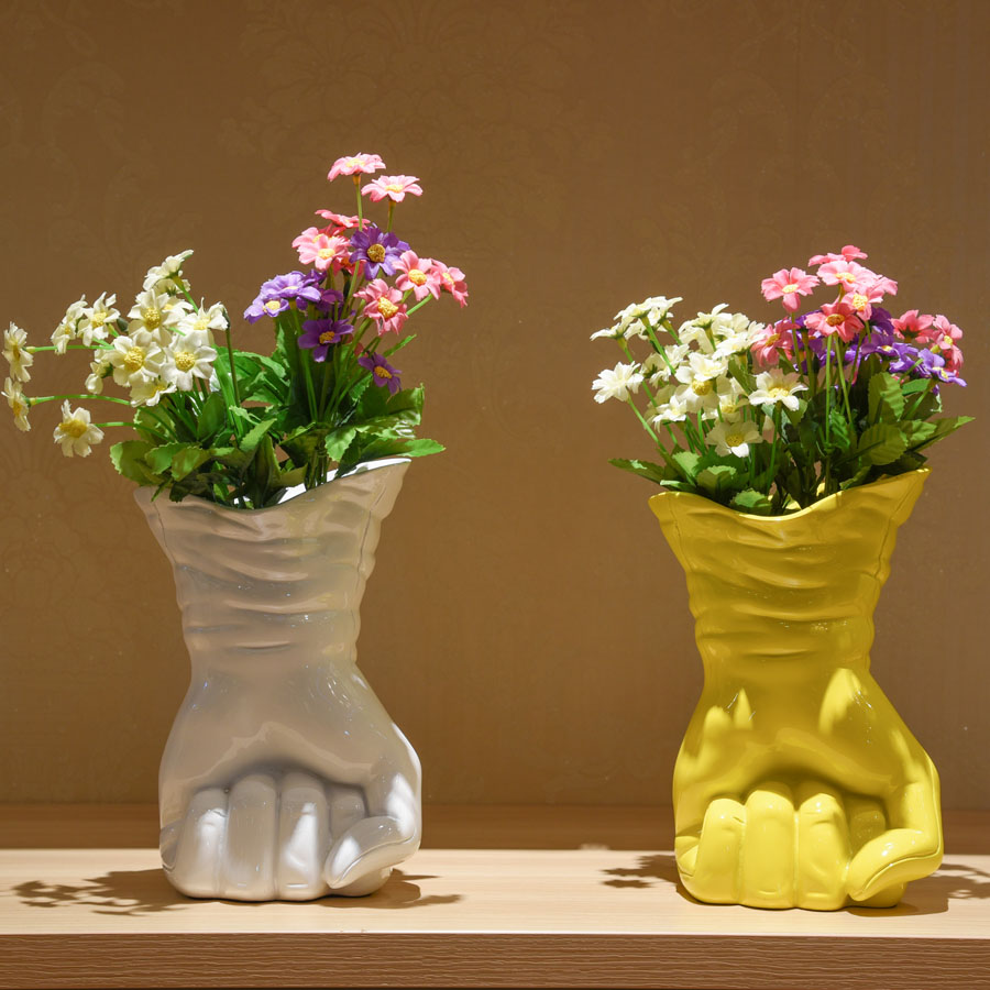 Flower vase decorations gallery vases design picture wedding resin white yellow creative fist shape flower vase pot wedding resin white yellow creative fist reviewsmspy