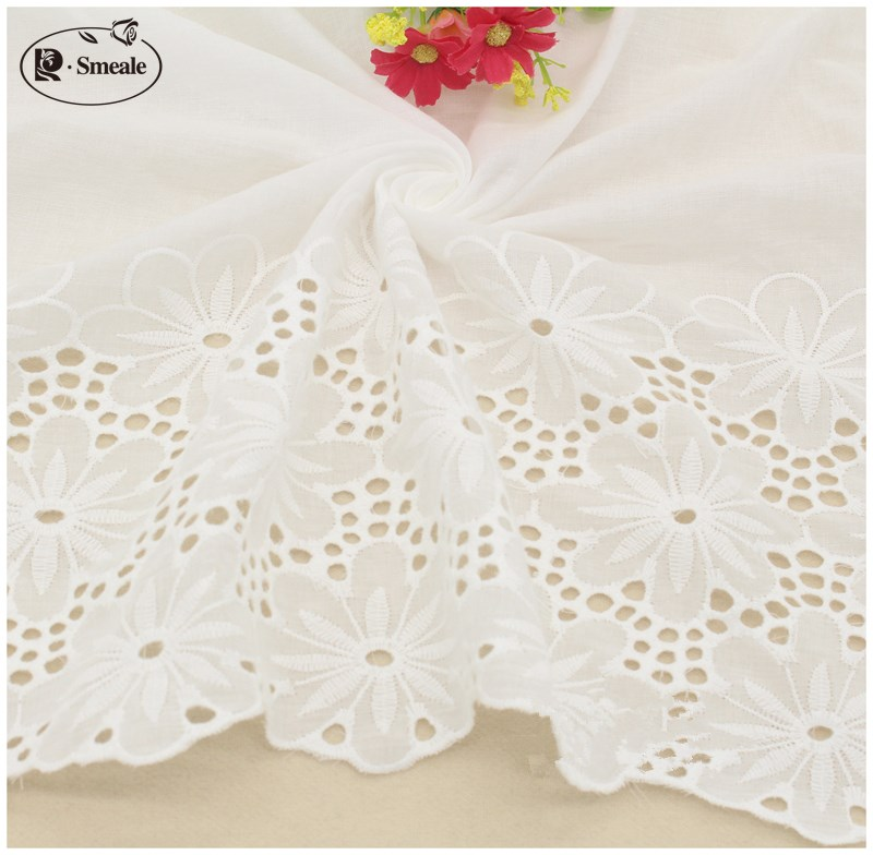 Well-Educated Bilateral Symmetry White 100% Cotton Openwork Embroidery Lace Fabric Skin-friendly Soft Summer Dress Lace Fabric Rs408 To Enjoy High Reputation At Home And Abroad Arts,crafts & Sewing