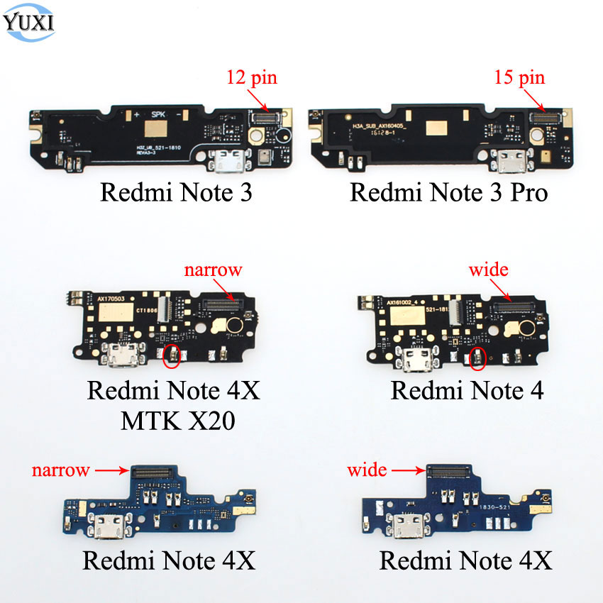 YuXi For Xiaomi Redmi Note3 3 Pro Note 4 4X Microphone Module + USB Charging Port Board Flex Cable Connector Part