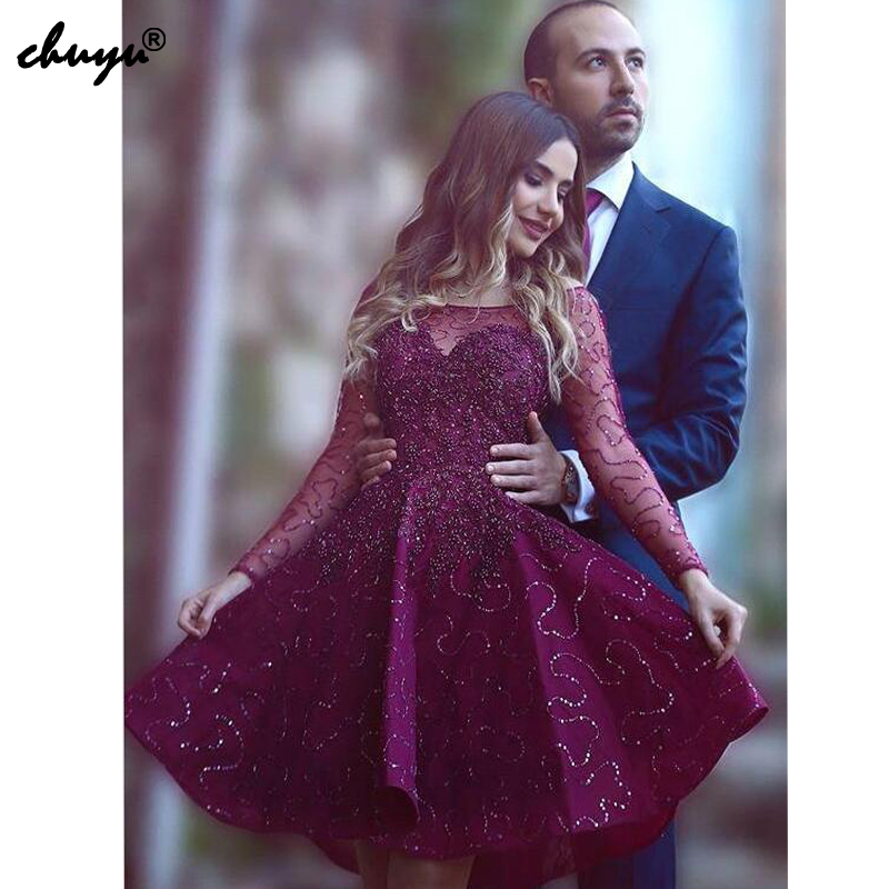 Purple Sequins Lace Homecoming   Dresses   A-line Long Sleeves Short Mini Pearls Sparkle Elegant   Cocktail     Dresses
