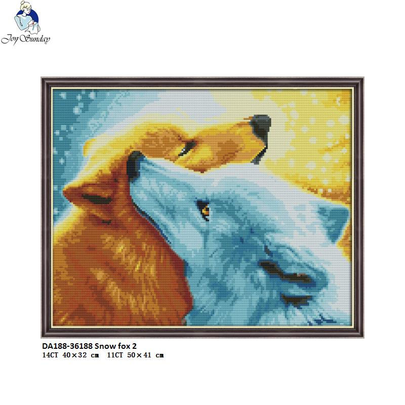 Joy Sunday Snow fox 2 Pattern DIY Handmade Cross stitch DMC 14ct and 11ct Canvas Printed Cross stitch kit Embroidery Needlework in Package from Home Garden