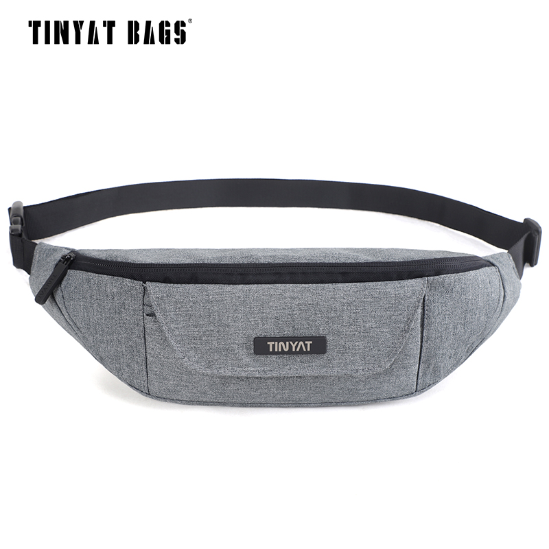 TINYAT Men Waist Pack Bag Casual Women Travel Phone Belt Bag Pouch New Canvas shoulder Fanny Pack Bag Money Hip Pack Bag Bum 215 new fashion baby boys clothing set cotton short sleeve shorts plaid kids clothes summer baby boy set gentleman suit