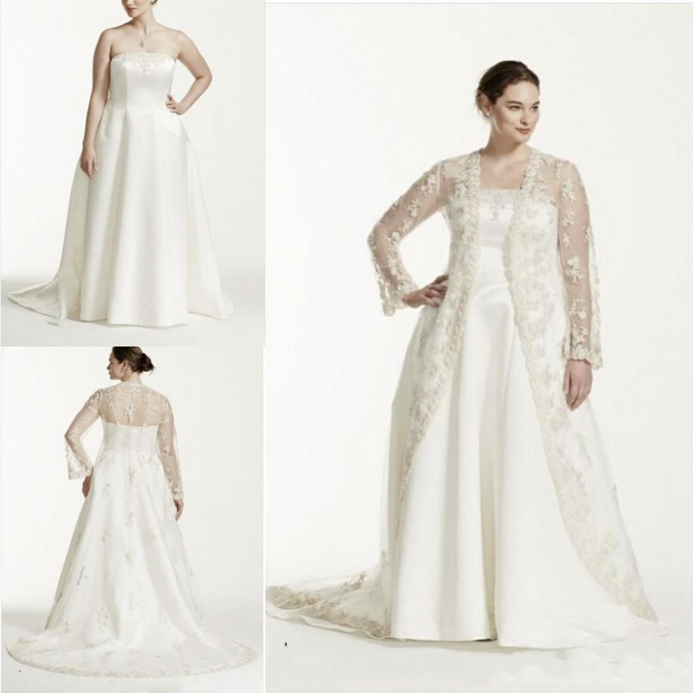 Modern Plus Size Two Pieces Wedding Dresses With Sheer