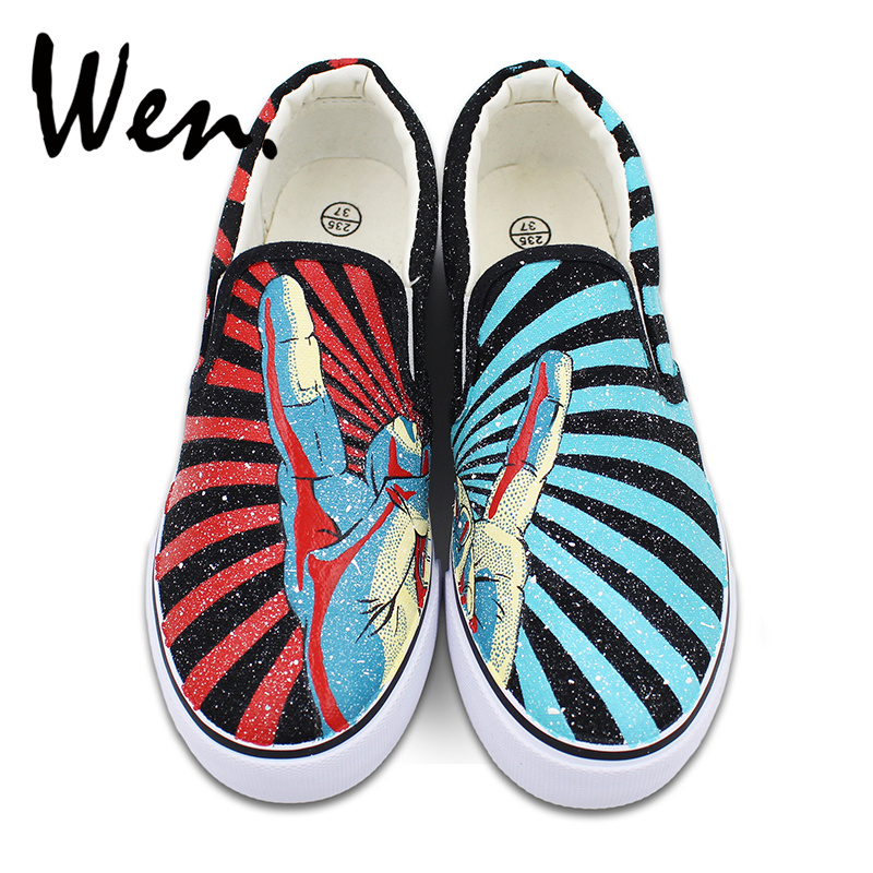 Wen Unisex Hand Painted Shoes Slip on Flats Design Rock and Roll Gesture Red Blue Stripes Canvas Sneakers Birthday Gifts wen original design colorful lamp bulb hand painted shoes black slip on canvas sneakers for man woman s gifts presents