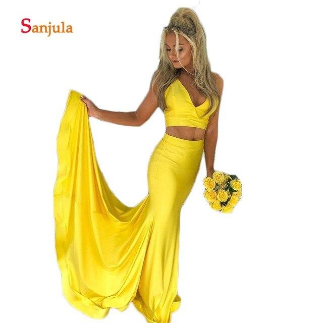 254314a944 Sexy V cuello sirena vestidos de graduación tanque dos piezas tiempo satén  amarillo fiesta vestido para las niñas D735
