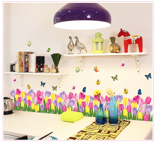Colorful tulip butterfly wall border wall stickers decals removable window stickers kids baby nursery diy art