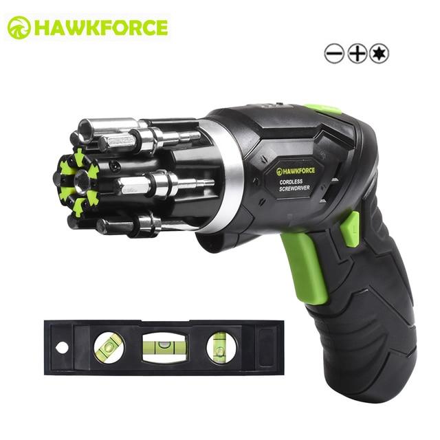 Kit de destornillador eléctrico inalámbrico recargable de 3,6 V HAWKFORCE 6 en 1 Bits integrados Mini destornillador giratorio con luz de trabajo