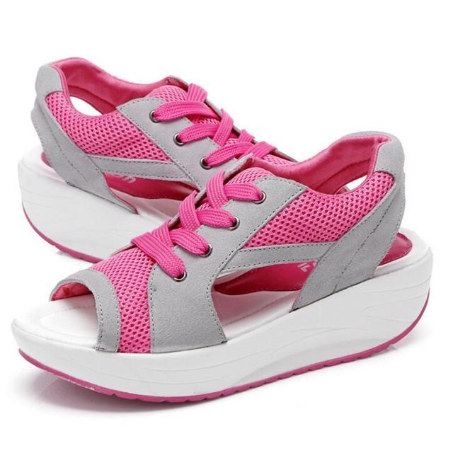 2016 Fashion Summer Women's Sandals Casual Mesh Breathable Shoes Women Ladies Wedges Sandals Lace Platform Sandalias 022