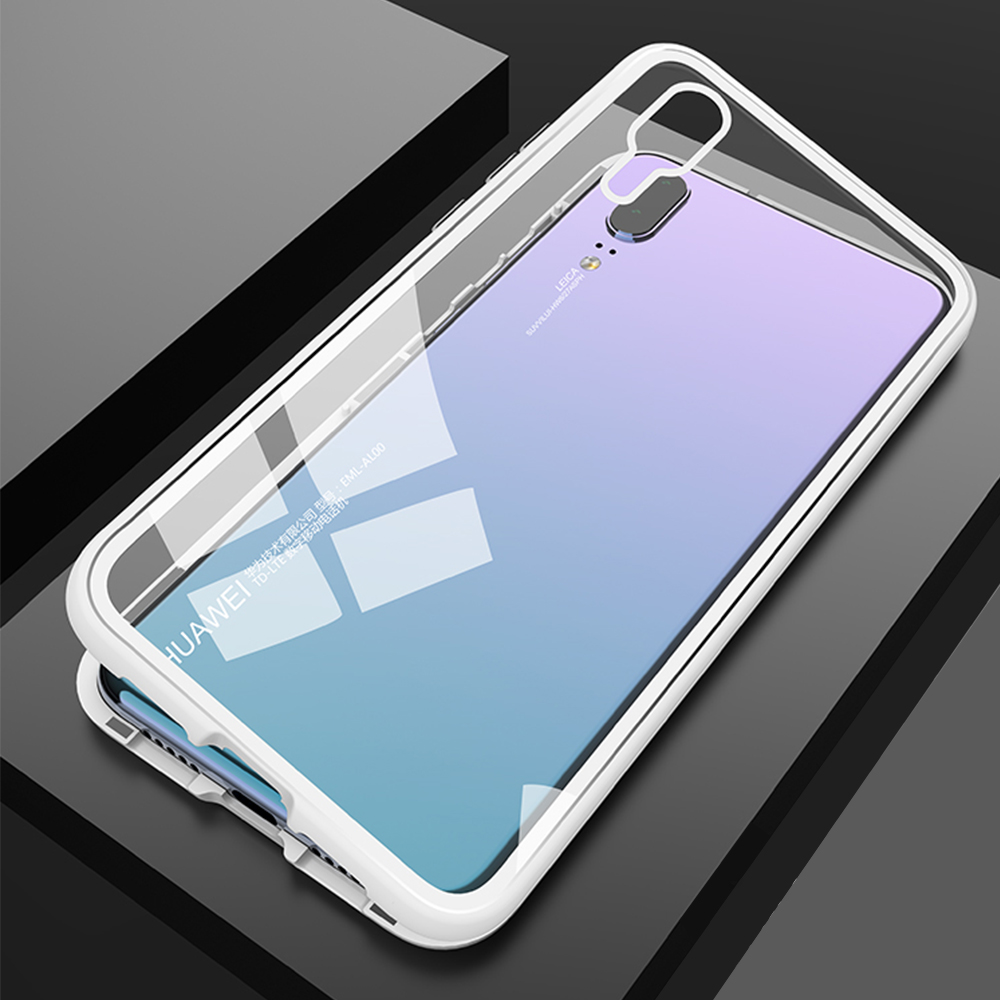 Magnetic Flip Phone Case with screen protector for HuaweiP20 Pro Clear Tempered Glass Magnet Case for huawei p20 pro Metal Cover (16)