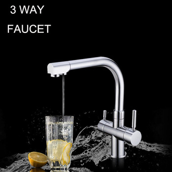 Water filter tap Chrome Black & White Colors Ro Filtered Water Hot/Cold 3 Way kitchen faucet mixer