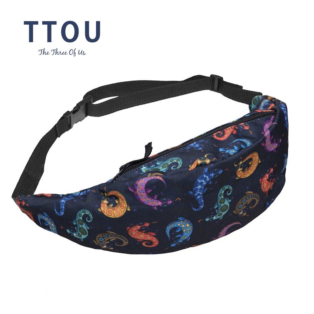 TTOU New Hot Sales 3d Printing Women's Zipper Bag Waist Bag Fanny Packs Bum Bag Casual Travelling Bag For Men Bolsa Feminina