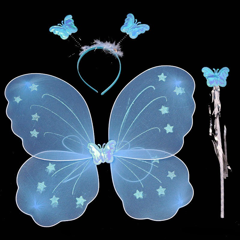 3 PCS Butterfly Wing Headband Sparklers Glitter Cosplay Costume Fairy Costume Halloween Children Girl Butterfly Wings